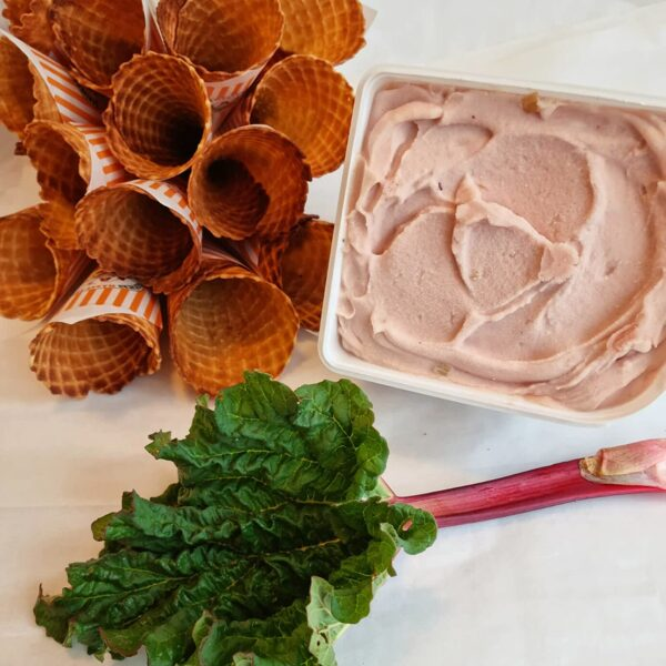 Lielisks rabarberu zefīra saldējums